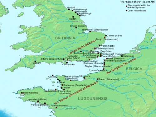 Map of the Saxon Shore, ca. 380 AD