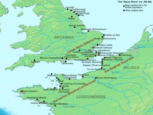 Mapa da costa saxão, ca. 380 AD