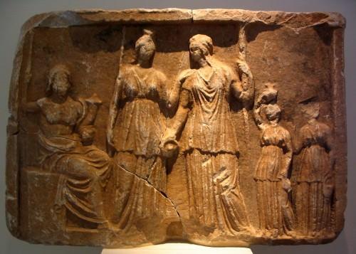 Persephone, Demeter, & Pluto Marble Plaque, Tegea.