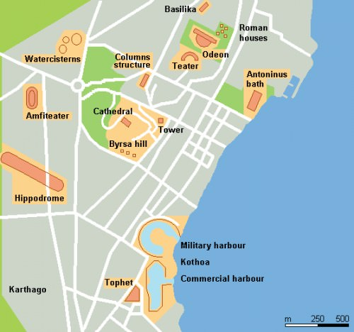 Map of Roman Buildings in Carthage