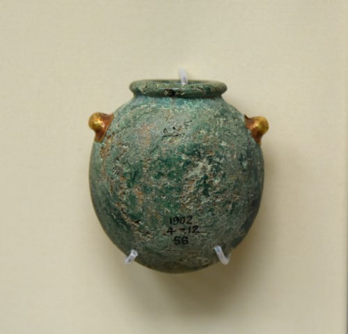 Malachite Jar with Gold Handles