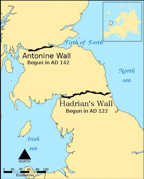 Mapa que indica las murallas de Antonino y Adriano
