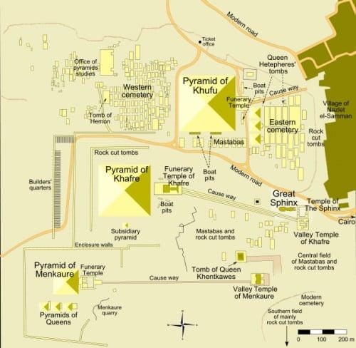 Mapa de los monumentos en Giza