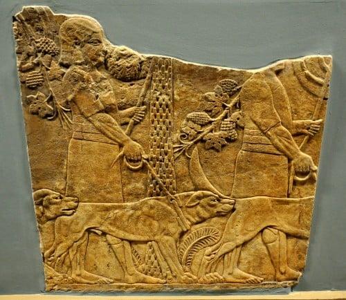 assyrian huntsmen with hounds illustration ancient
