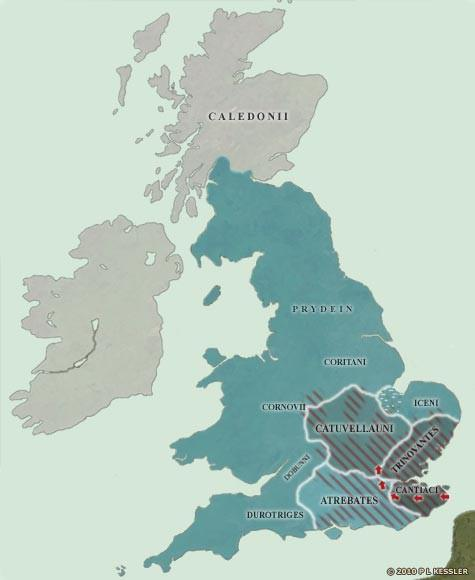 Map of the British Isles in 54 BC