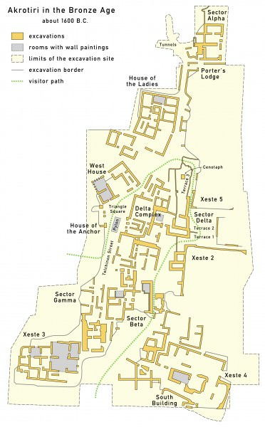 Map of Bronze Age Akrotiri