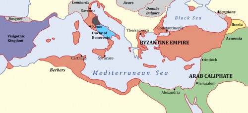 The Byzantine Empire, c. 650 CE.