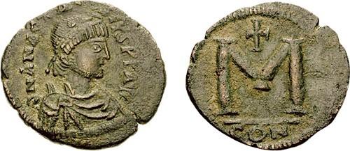 Follis de cobre de Anastasios I