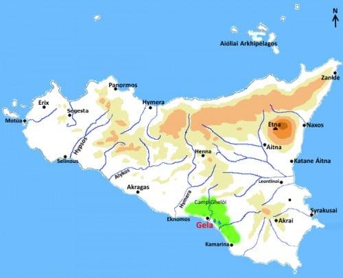 Mapa da Sicília grega, quinto século aC