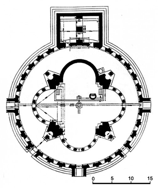 Plano da catedral de Zvartnots