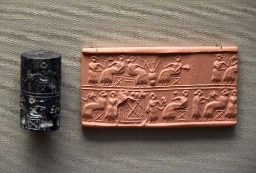 Sello de cilindro Lapislázuli de la Reina Puabi