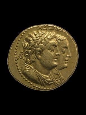 Gold Octadrachm de Ptolemy II y Arsinëe II