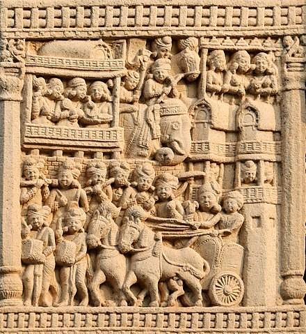 Procesión real saliendo de Rajagriha