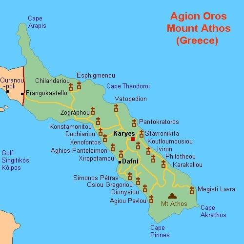 Mapa de Monasterios del Monte Athos