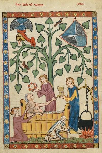Nobre medieval tomando banho