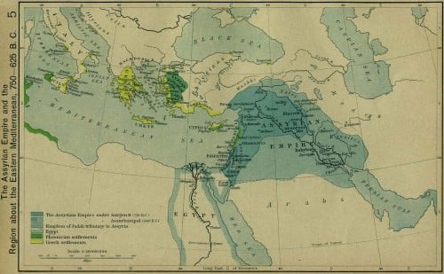 The Assyrian Empire and the Region about the Eastern Mediterranean, 750-625 BC