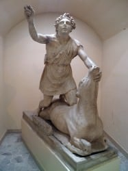 Statue of tauroctony  (Mithras slaying the bull) (Carole Raddato)