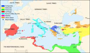 Map of the Mediterranean 218 BCE (Megistias)