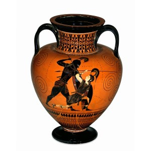 Black-figured amphora (wine-jar) signed by Exekias as potter and attributed to him as painter (Trustees of the British Museum)